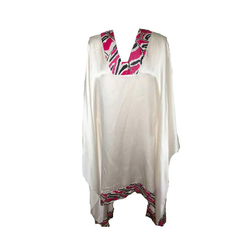 African silk pink printed kaftan, Eki silk