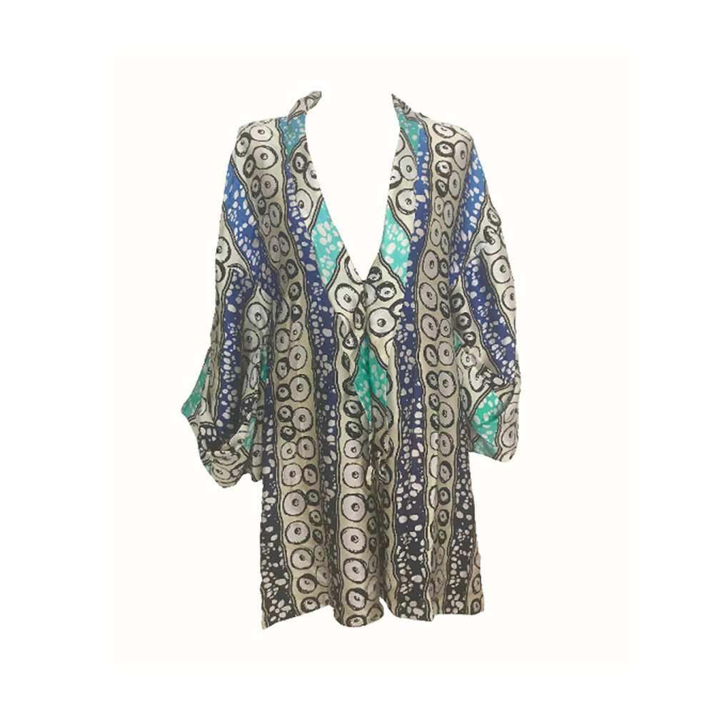 African silk printed playsuit. green and white, Eki silk