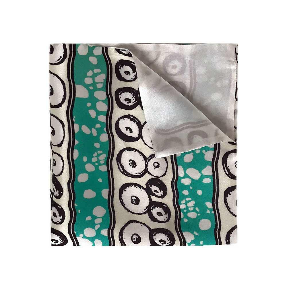 African printed silk, Eki silk, green and white