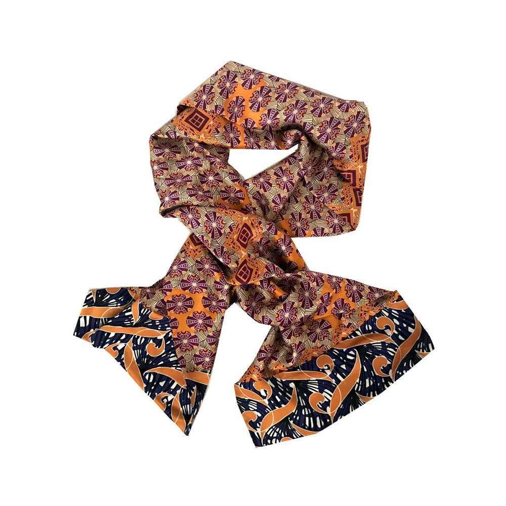 African silk orange printed scarf, Eki silk