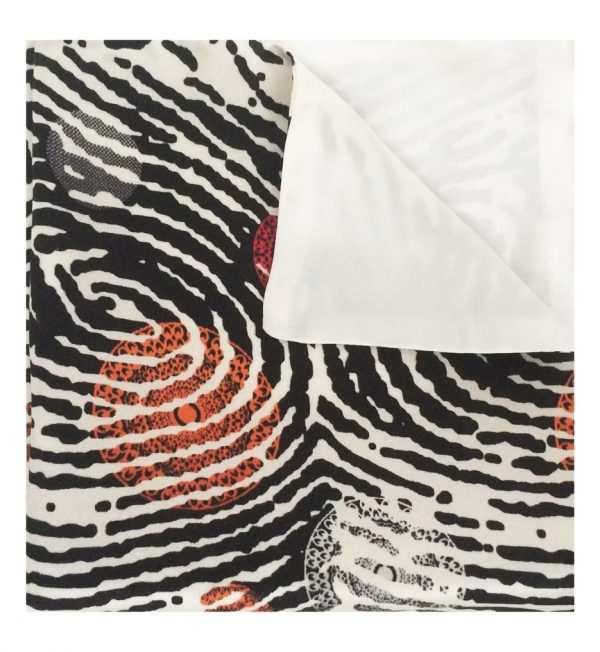 African silk pocket squares, orange and black pattern, Eki silk