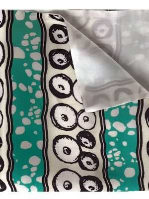 African silk pocket squares, Eki silk, green and white